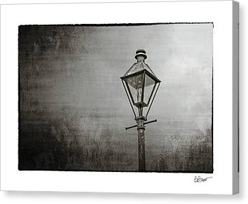 Street Lamp On The River In Black And White Canvas Print by Brenda Bryant