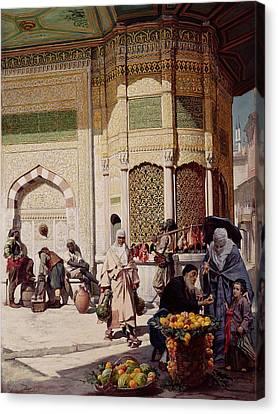 Street Merchant In Istanbul Canvas Print by Hippolyte Berteaux