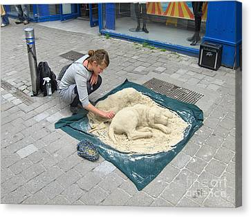 Street Sand Art In Ireland Canvas Print by Brenda Brown