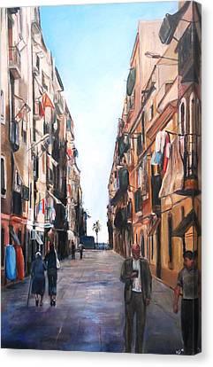 Street Scene Barcelona Canvas Print by Robina Osbourne