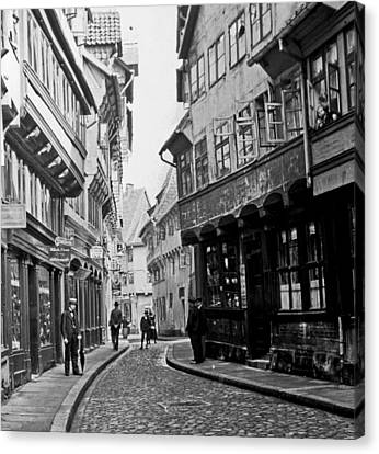 Canvas Print featuring the photograph Street Scene Braunschweig Germany 1903 by A Gurmankin