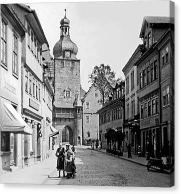 Canvas Print featuring the photograph Street Scene Coberg Germany 1903 by A Gurmankin