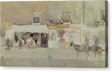 Street Scene In Chelsea Canvas Print by James Abbott McNeill Whistler