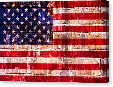 Street Star Spangled Banner Canvas Print by Delphimages Photo Creations