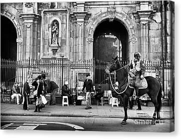 Street Watching In Santiago Mono Canvas Print by John Rizzuto