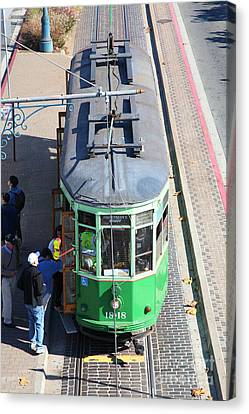 Streetcar At Pier 39 San Francisco California 5d26074 Canvas Print by Wingsdomain Art and Photography