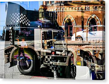 Streetcars And Trucks Canvas Print by Toppart Sweden