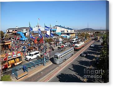 Streetcars At Pier 39 San Francisco California 5d26054 Canvas Print by Wingsdomain Art and Photography