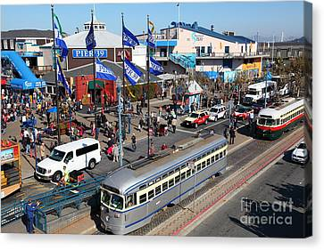 Streetcars At Pier 39 San Francisco California 5d26055 Canvas Print by Wingsdomain Art and Photography