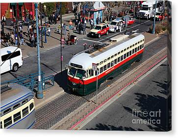 Streetcars At Pier 39 San Francisco California 5d26060 Canvas Print by Wingsdomain Art and Photography