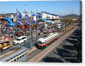 Streetcars At Pier 39 San Francisco California 5d26062 Canvas Print by Wingsdomain Art and Photography