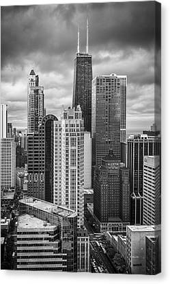 Streeterville From Above Black And White Canvas Print by Adam Romanowicz