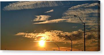 Streetlight Sunset Canvas Print by Gustave Kurz