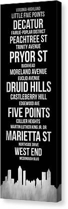 Streets Of Atlanta 2 Canvas Print by Naxart Studio