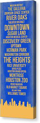 Streets Of Houston 3 Canvas Print by Naxart Studio