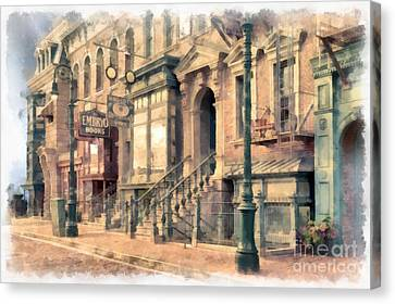 Streets Of Old New York City Watercolor Canvas Print by Edward Fielding