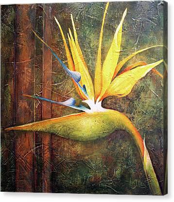 Strelitzia And Copper Canvas Print by Lorraine Ulen