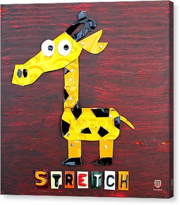 Stretch The Giraffe License Plate Art Canvas Print by Design Turnpike