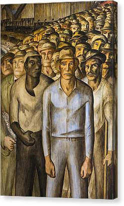 Striking Miners Mural In Coit Tower Canvas Print by Adam Romanowicz