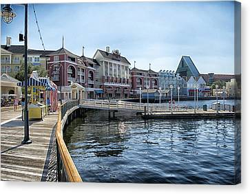 Strolling On The Boardwalk At Disney World Canvas Print by Thomas Woolworth