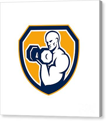 Strongman Pumping Dumbbells Shield Retro Canvas Print by Aloysius Patrimonio