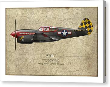 Stud P-40 Warhawk - Map Background Canvas Print by Craig Tinder