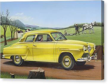Studebaker Champion Antique Americana Nostagic Rustic Rural Farm Country Auto Car Painting Canvas Print by Walt Curlee