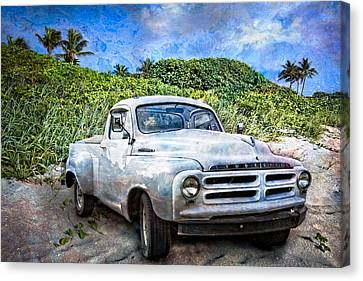 Studebaker Goes To The Beach Canvas Print by Debra and Dave Vanderlaan