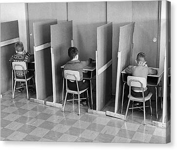 Students In Cubicles Canvas Print by Underwood Archives