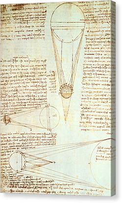 Studies Of The Illumination Of The Moon Canvas Print by Leonardo Da Vinci