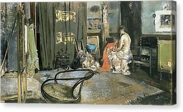 Studio Of Robert F. Blum, C.1883-84 Pastel On Paper Canvas Print by Robert Frederick Blum