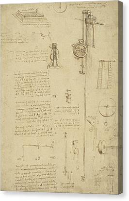 Study And Calculations For Determining Friction Drawing With Notes On Gardens Of Milanese Palace Canvas Print by Leonardo Da Vinci