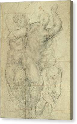 Study For A Group Of Nudes Canvas Print by Jacopo Pontormo