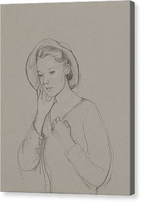 Study For Elizabeth Bennet Canvas Print by Caroline Hervey Bathurst