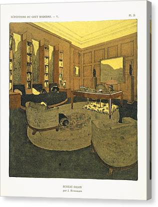 Study, From Repertoire Of Modern Taste Canvas Print by Jacques-Emile Ruhlmann