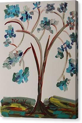 Study Of A Blue Tree Canvas Print by Mary Carol Williams