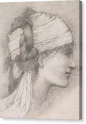Study Of A Female Head To The Right Canvas Print by Sir Edward Coley Burne-Jones