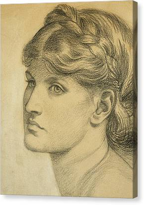 Study Of A Head For The Bower Meadow Canvas Print by Dante Charles Gabriel Rossetti