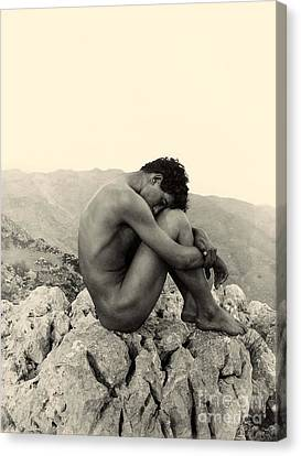 Study Of A Male Nude On A Rock In Taormina Sicily Canvas Print by Wilhelm von Gloeden