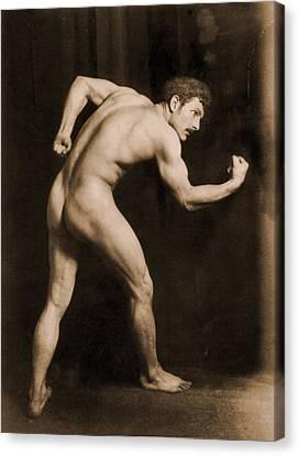 Study Of A Male Nude Canvas Print by Wilhelm von Gloeden