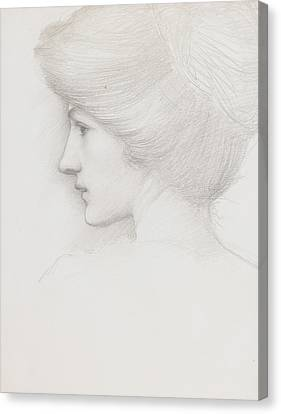 Study Of A Woman's Head Profile To Left Canvas Print by Sir Edward Coley Burne-Jones