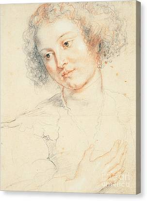 Study Of The Head Of St. Apollonia Canvas Print by Peter Paul Rubens