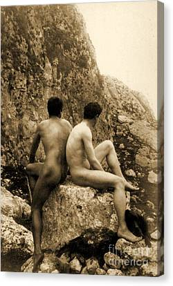 Study Of Two Male Nudes Sitting Back To Back Canvas Print by Wilhelm von Gloeden