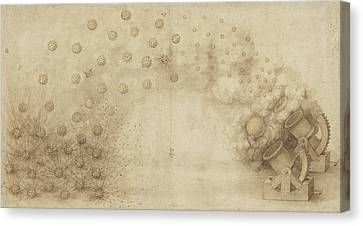 Study Of Two Mortars For Throwing Explosive Bombs From Atlantic Codex Canvas Print by Leonardo Da Vinci