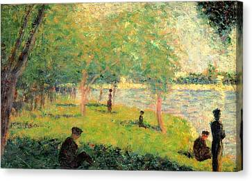 Study On La Grande Jatte Canvas Print by Georges Seurat