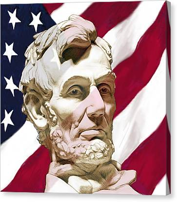 Stylised Modern Drawing Art Sketch - President Lincoin With America Flag Canvas Print by Kim Wang