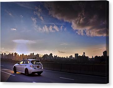 Subaru Impreza Wagon Wrx Sti Sunset Canvas Print by Samir Mustafic
