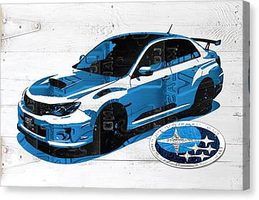 Subaru Impreza Wrx Recycled License Plate Art On White Barn Door Canvas Print by Design Turnpike