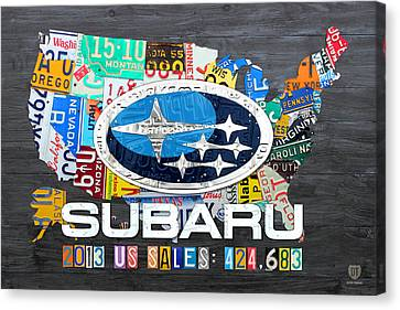Subaru License Plate Map Sales Celebration Limited Edition 2013 Art Canvas Print by Design Turnpike