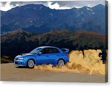 Subaru Wrx Sti Drifting In The Dirt Canvas Print by Erin Hissong